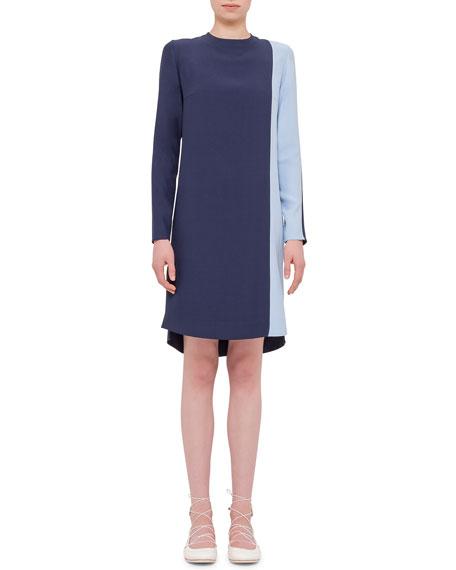 Akris punto Long-Sleeve Two-Tone Shift Dress, Indigo/Sky