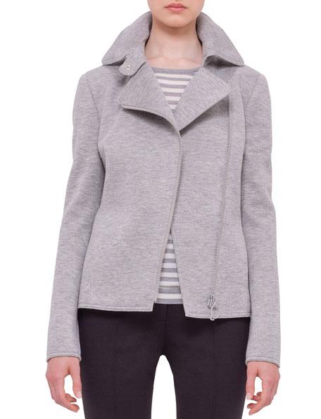 Akris punto Asymmetric-Zip Moto Jacket, Silver