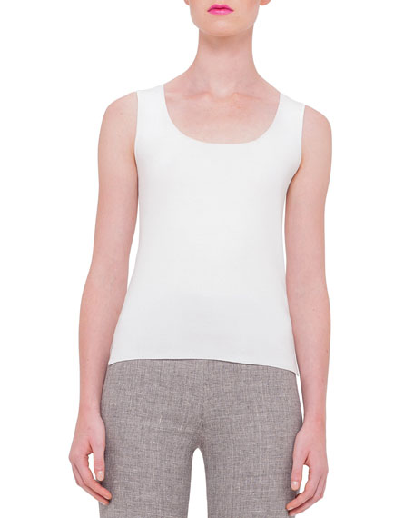 Akris Scoop-Neck Fitted Tank, Off White
