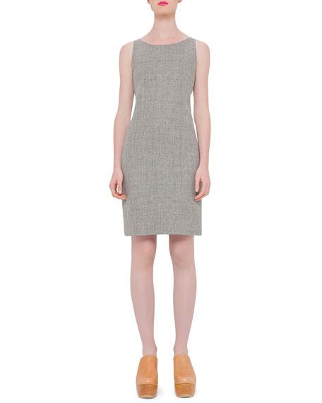 Akris Sleeveless Round-Neck Sheath Dress, Dark Zinc