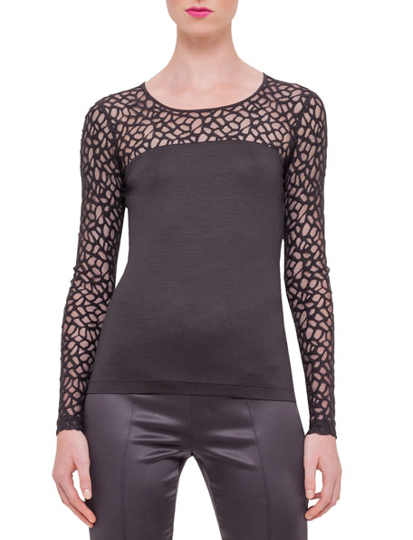 Akris Long-Sleeve Applique Top, Black