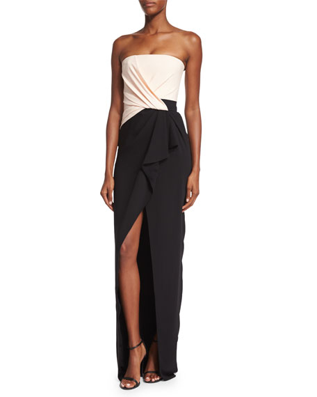 Strapless Colorblock Ruched Gown, Ivory/Black