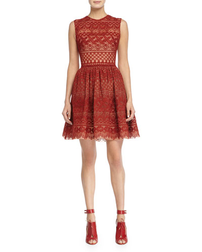 Sleeveless Fit-&-Flare Lace Dress, Cadillac