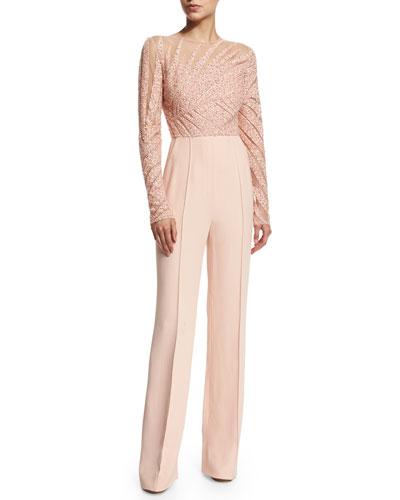 Long-Sleeve Embellished Jumpsuit, Melrose