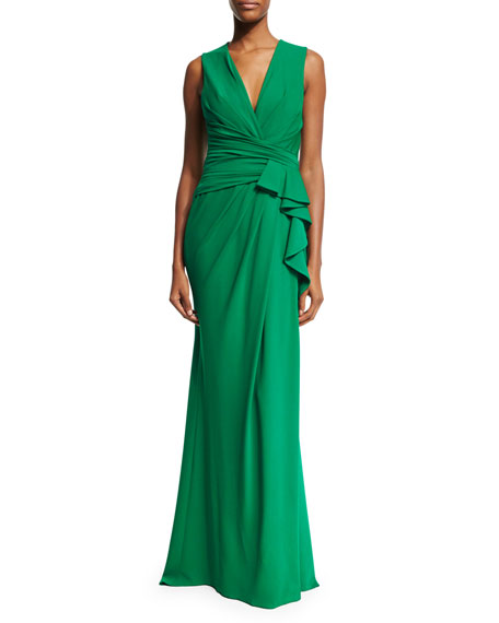 Elie Saab Sleeveless Ruffle-Waist Gown, Palm