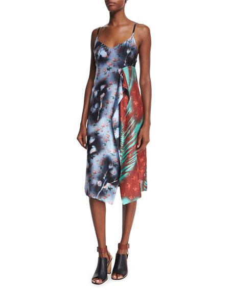 Acne Studios Sleeveless Patchwork Asymmetric Dress, Roses/Palm