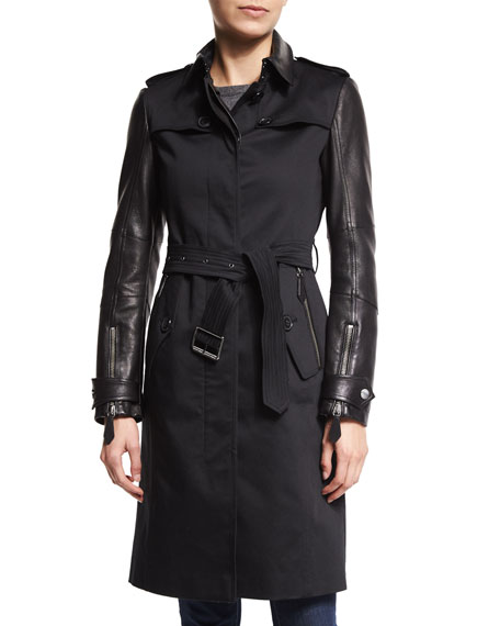 Burberry Brit Earsdale Leather-Sleeve Trenchcoat, Black