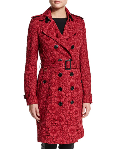 Floral-Lace Double-Breasted Trench Coat, Parade Red