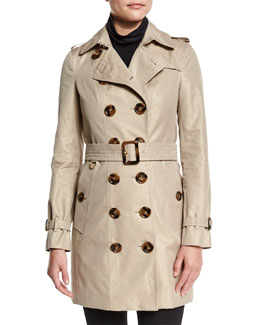 Slim-Fit Double-Breasted Metallic Trench Coat, Nude Gold