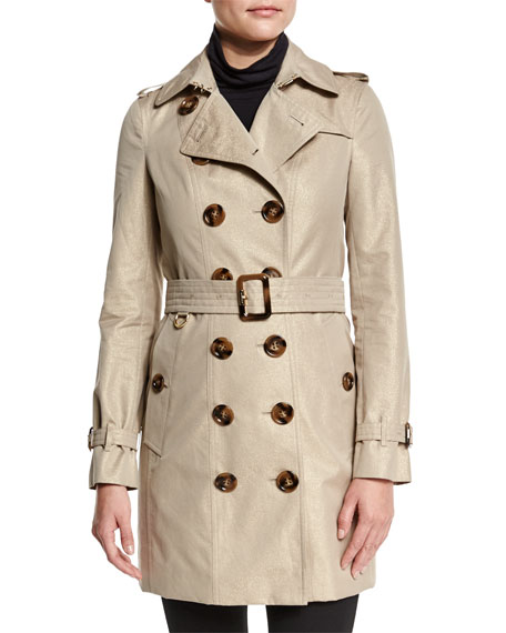 Burberry Brit Slim-Fit Double-Breasted Metallic Trench Coat, Nude