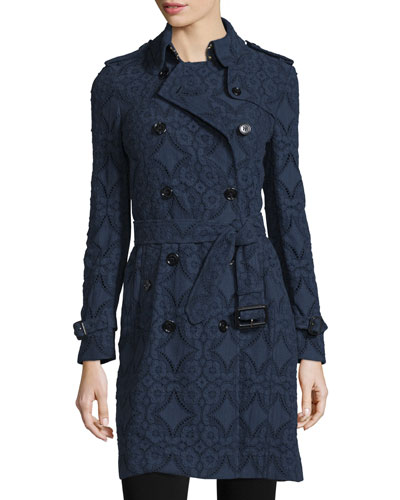 Double-Breasted Lace Trench Coat, Ink