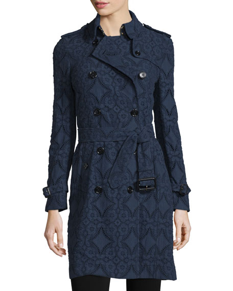 Burberry LondonDouble-Breasted Lace Trench Coat, Ink