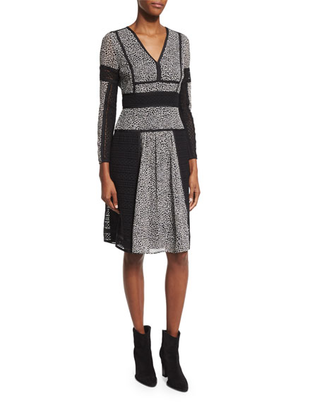Burberry London Long-Sleeve Lace-Panel Dress, Black/White