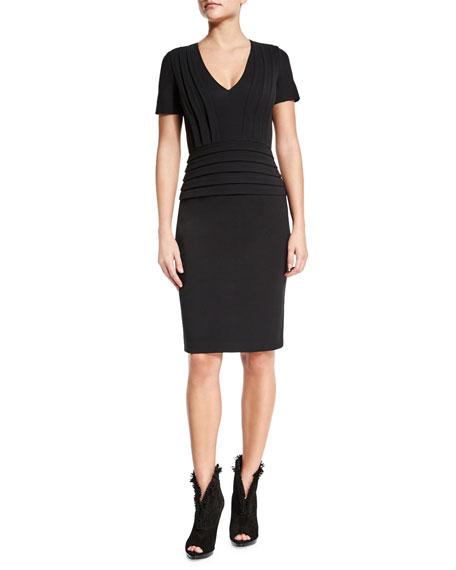 Burberry Brit Short-Sleeve Pleated Sheath Dress, Black