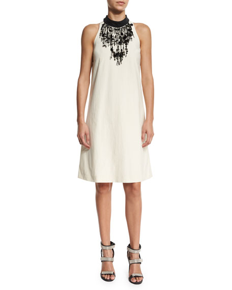 Brunello Cucinelli Cotton Techno Sleeveless Dress, Butter