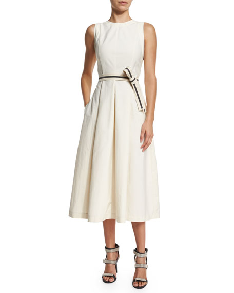 Brunello Cucinelli Sleeveless Midi Dress W/Monili-Trim Belt,