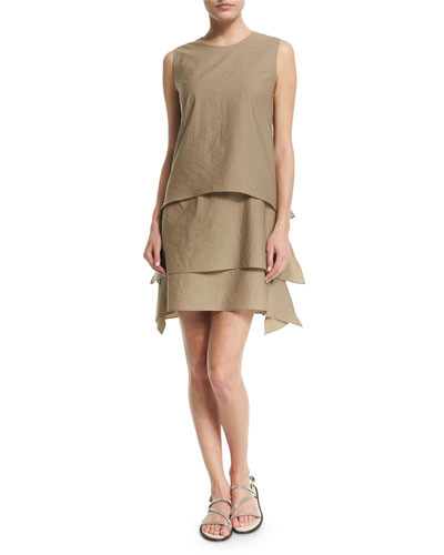 Sleeveless Layered Shift Dress, Green Tea