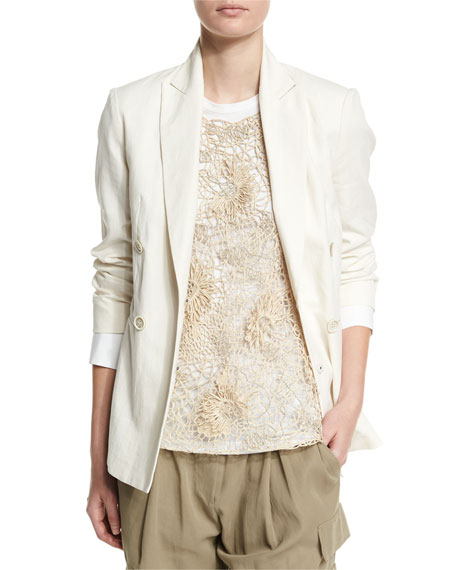 Brunello Cucinelli Long-Sleeve Double-Breasted Blazer, Butter