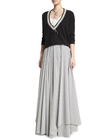 Skinny-Striped High-Waist Ball Skirt, Slate/White