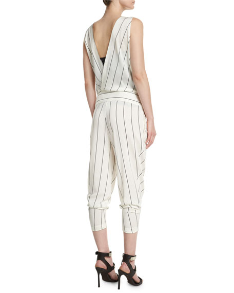 Sleeveless Tapered-Leg Striped Jumpsuit, Vanilla/Volcano