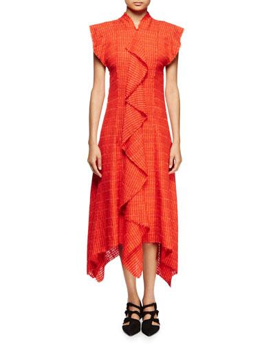 Flutter-Sleeve Asymmetric-Hem Dress, Electric Red