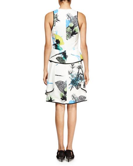 Sleeveless Ikebana-Print Peplum Dress, White/Blue/Green