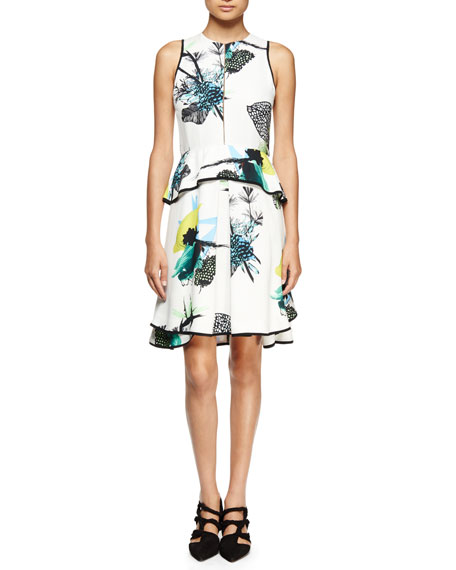 Proenza Schouler Sleeveless Ikebana-Print Peplum Dress,