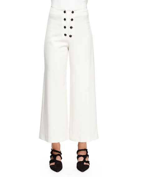 Proenza Schouler Sailor-Button Wide-Leg Ankle Pants, White