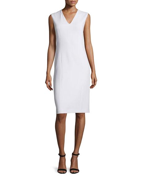 Agnona Sleeveless V-Neck Sheath Dress, Ivory