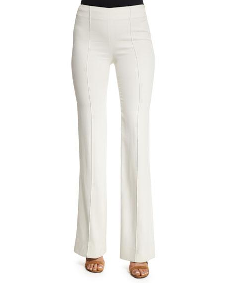 Agnona Mid-Rise Flare-Leg Trousers, Ivory
