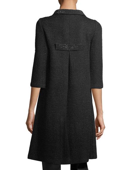 Allure Knit 3/4-Sleeve Topper Coat, Caviar