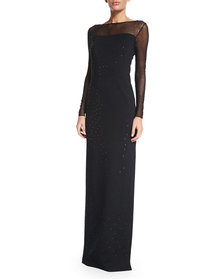 Shimmery Milano Knit Long-Sleeve Gown, Caviar