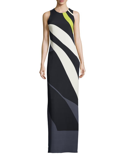 Sleeveless Striped Crepe/Chiffon Gown, Black