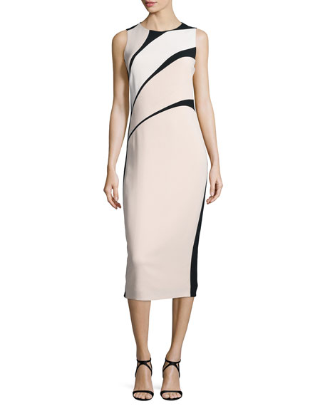 Narciso Rodriguez Sleeveless Bicolor Crepe Sheath Dress, Black/Pink