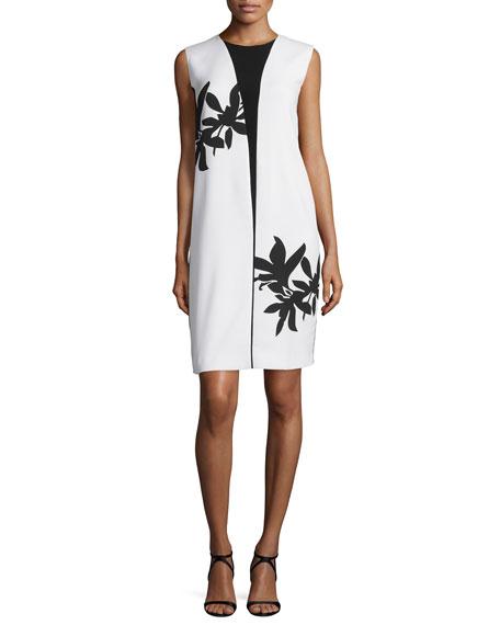 Bold Floral-Print Sleeveless Shift Dress, White