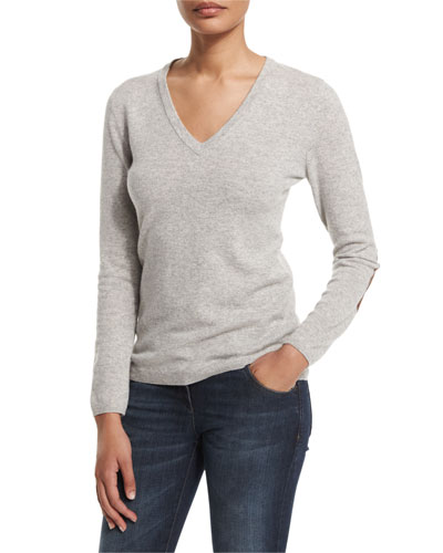 V-Neck Cashmere Sweater W/Elbow Patches, Light Gray