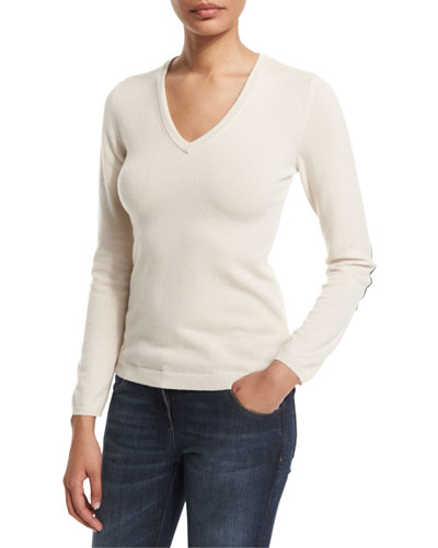 V-Neck Cashmere Sweater W/Elbow Patches, Vanilla