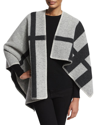 Wool-Blend Check Cape