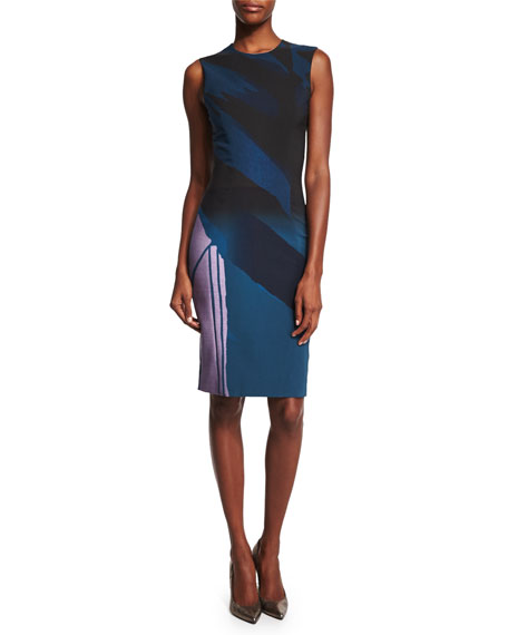 Prabal Gurung Sleeveless Colorblock Sheath Dress, Indigo