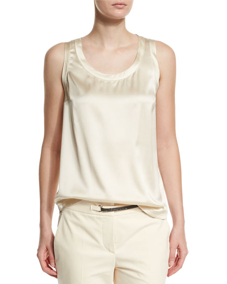 Brunello Cucinelli Scoop-Neck Stretch-Satin Tank, Butter