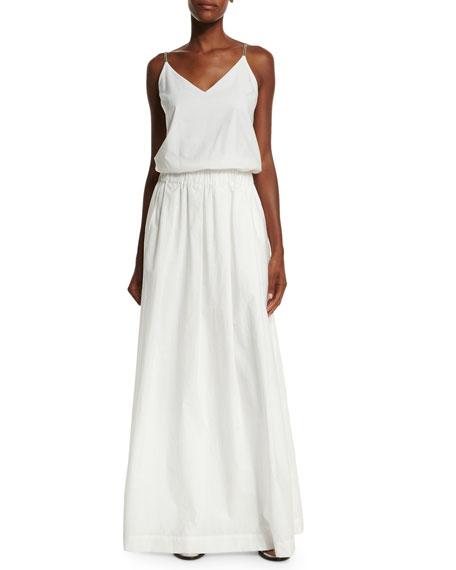 Brunello Cucinelli V-Neck Monili-Strap Long Dress, White