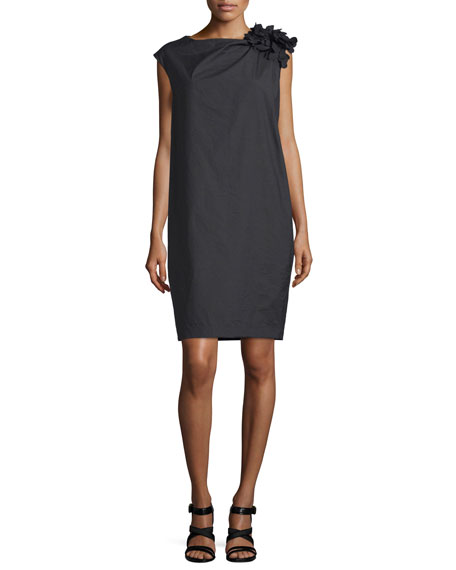 Brunello Cucinelli Gathered-Shoulder Shift Dress, Black