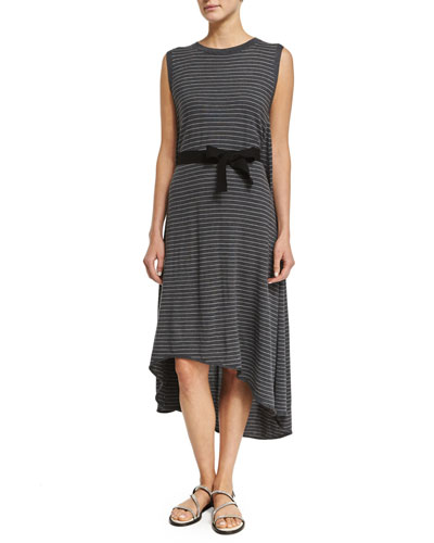 Sleeveless Skinny-Striped Belted Dress, Charcoal