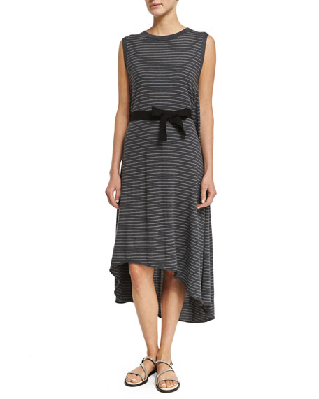 Brunello Cucinelli Sleeveless Skinny-Striped Belted Dress, Charcoal