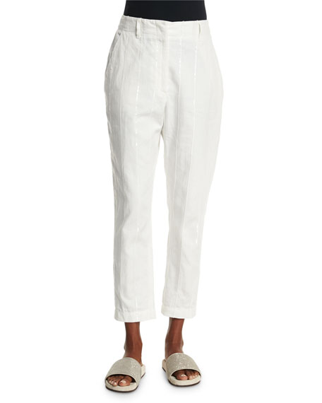 Brunello Cucinelli Paillette-Stripe Cropped Trousers, White