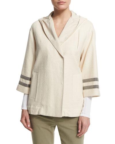 Brunello Cucinelli Hooded Coat W/Monili-Striped Sleeves, Butter
