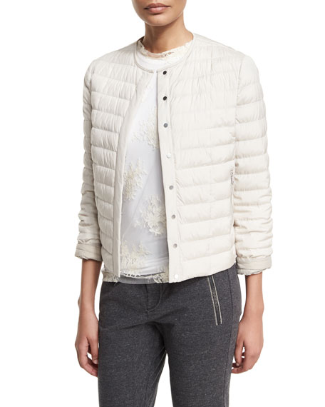 Brunello Cucinelli Quilted Taffeta Zip-Front Puffer Jacket, Dove