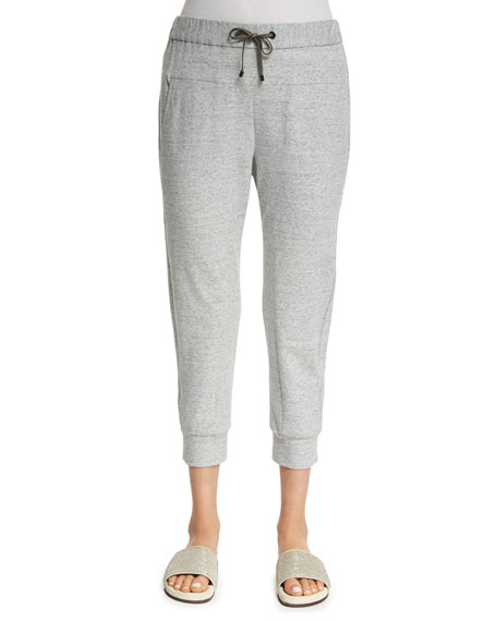 Brunello Cucinelli Monili-Trim Spa Pants, Light Gray