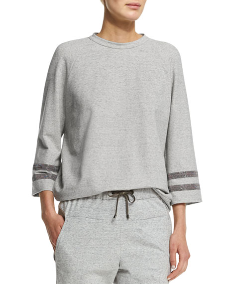 Brunello Cucinelli 3/4-Sleeve Jewel-Neck Pullover Sweatshirt,