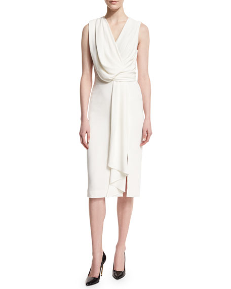 Jason Wu Sleeveless Draped-Front Sheath Dress, Chalk